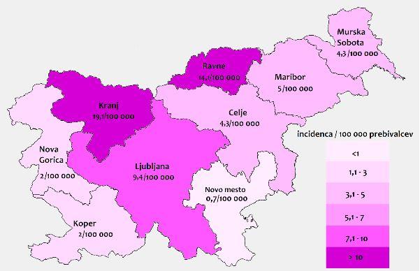 Incidenca okužb s KME v letu 2018 Vir: NIJZ