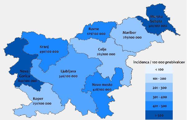 Indicenca okužb z lymsko boreliozo v letu 2018 Vir: NIJZ